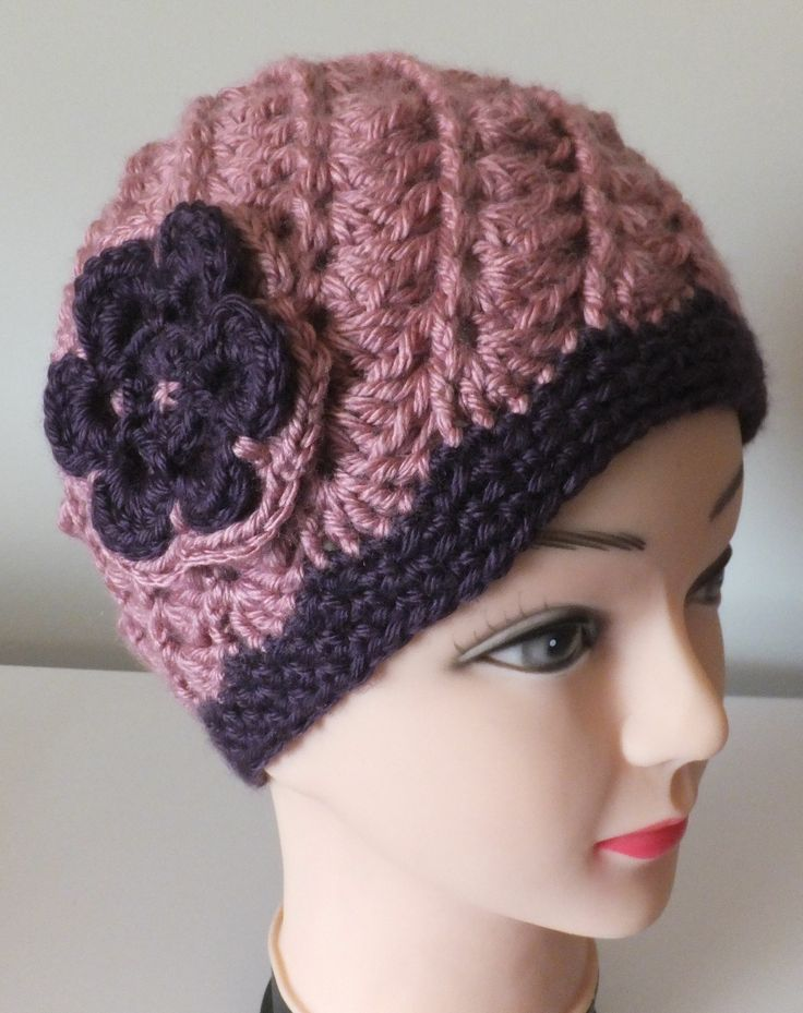Ladies 'Spiral Rib Beanie with Flower' - beautiful design in this hat, available 'made to order' in your choice of colours.  Check out my Facebook STORE