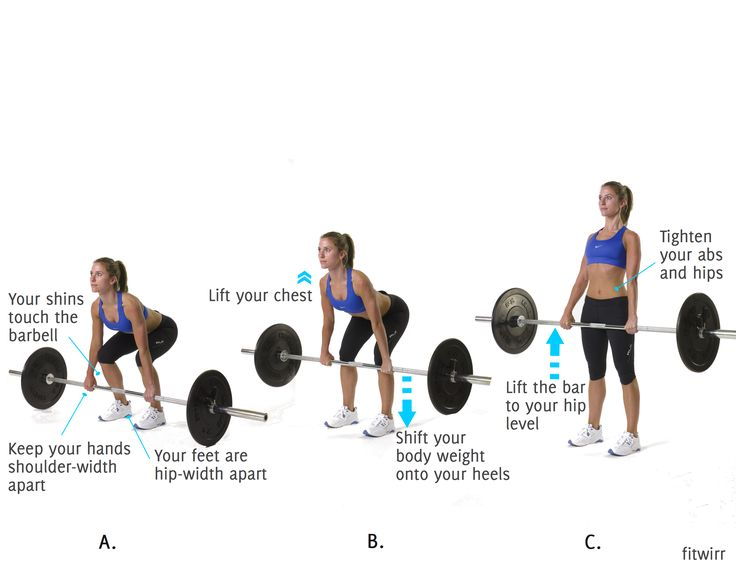 Get rid of cellulite on the back of your legs and shape up your buns with Barbell Deadlift. It targets the butt and legs