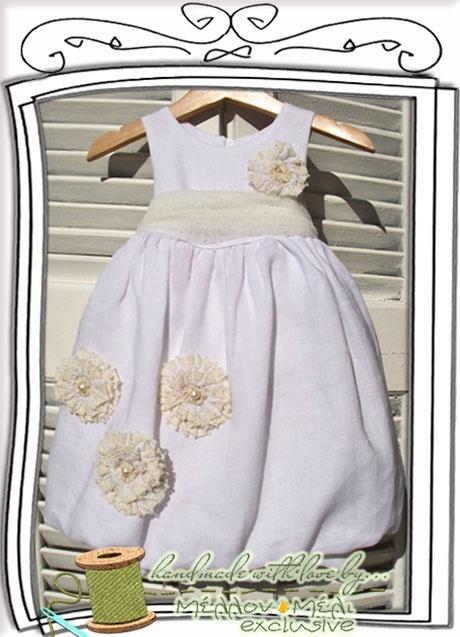 """Λινό βαπτιστικό φόρεμα """"Buttercup"""" ΜέλλονΜέλι Exclusive"""