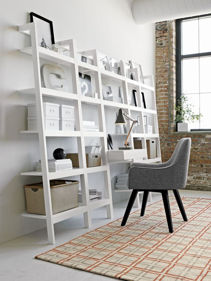 Sawyer White Leaning Desk With Two 245 Bookcases