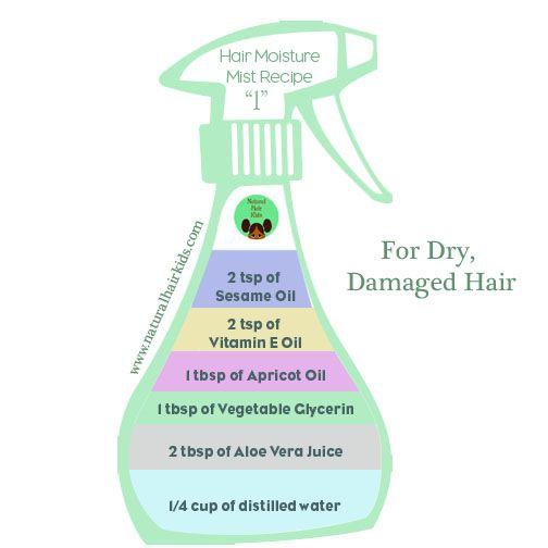 DIY Hair Moisture Mist Hair moisturizer recipe http://www.naturalhairkids.com/hair-care/4-diy-moisturizing-sprays-for-natural-hair/