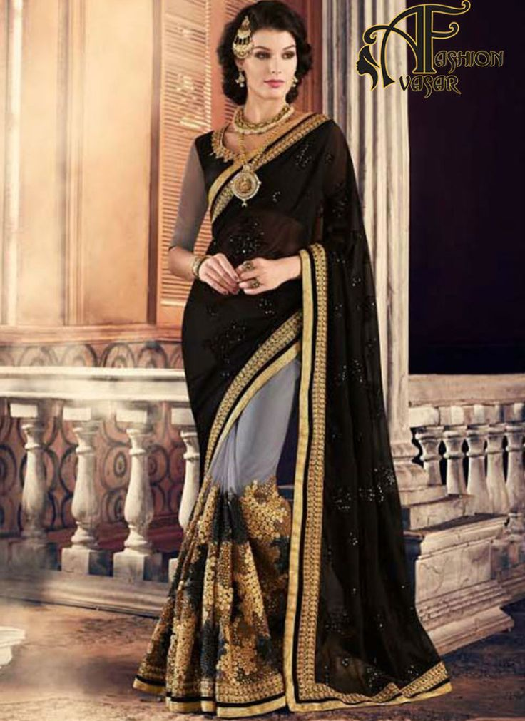 indian party wear georgette sarees – buy online black georgette sarees shopping india