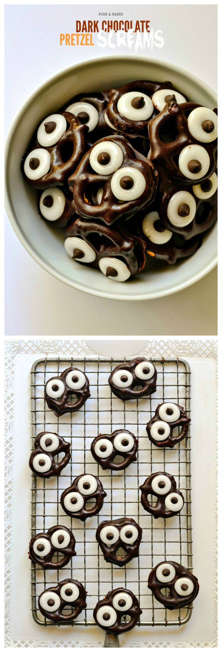 "#Glutenfree pretzels coated with dark chocolate; these ""Screams"" are filled with pure #vegan Halloween delight."