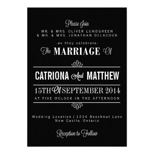 Black Modern Typography Floral Wedding Invitation