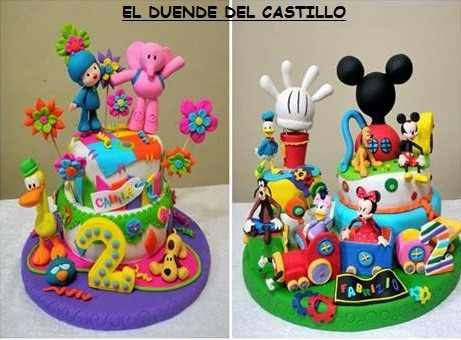 Centro Mesa Dulce Porcelana Fria Mickey Minnie Mouse Disney ...