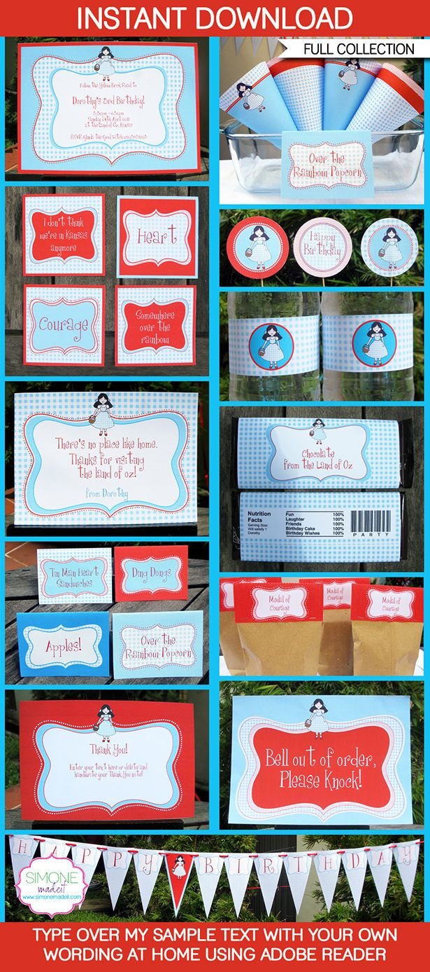 Instantly download my Wizard of Oz Party Printables, Invitations & Decorations. Personalize the templates easily at home & get your party started now!