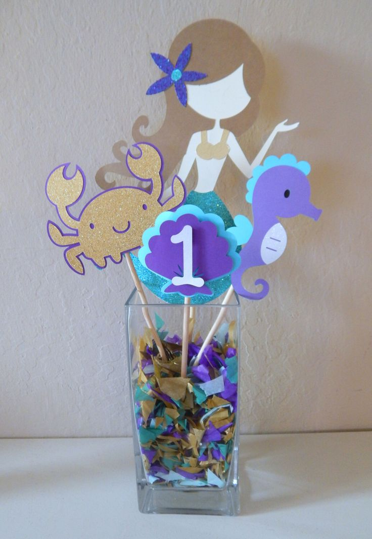 Under the Sea Mermaid Centerpiece, Customized Age Centerpiece, Purple and Teal Mermaid Party Decoration, Birthday Party Decor by LittleBannerShop on Etsy https://www.etsy.com/listing/263959535/under-the-sea-mermaid-centerpiece