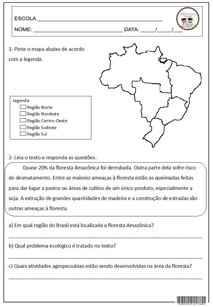 SOS PROFESSOR-ATIVIDADES: Regiões do Brasil