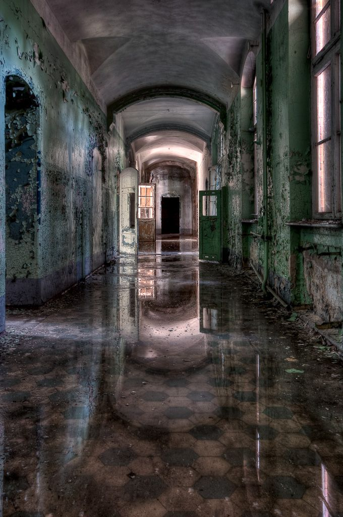 Abandoned Beelitz-Heilstatten Hospital in Brandenburg, Germany.
