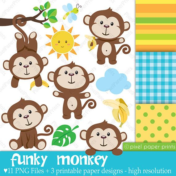 Funky Monkey - Clipart and Digital paper set - Monkey clip art