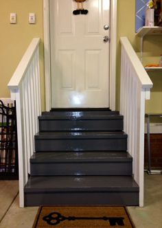 My Ugly Wooden Stairs Now Have Two Coats Of Benjamin Moore Paints.  Handrails Are Painted In White Satin Finish And The Stairs Are Oil Based  Deck Gray For ...
