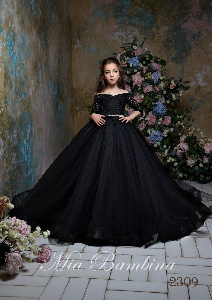 2019 HOT Ball Gown Black Flower Girl Dresses Girls Party Birthday Pageant Gowns