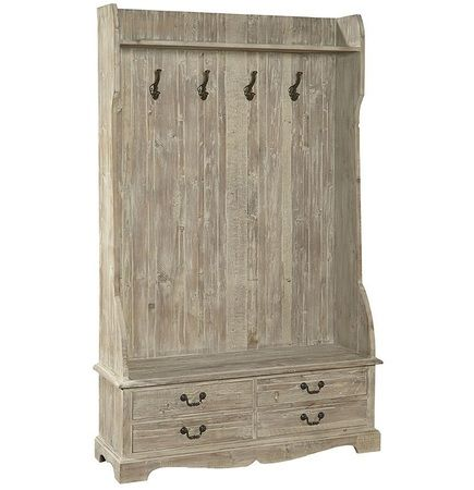French Country Rustic Entry Storage Bench with Coat Rack