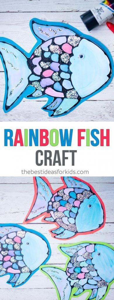 Rainbow Fish Craft with Black Glue inspired by the book The Rainbow Fish by Marcus Pfister. Perfect preschool process art, watercolors and black glue.