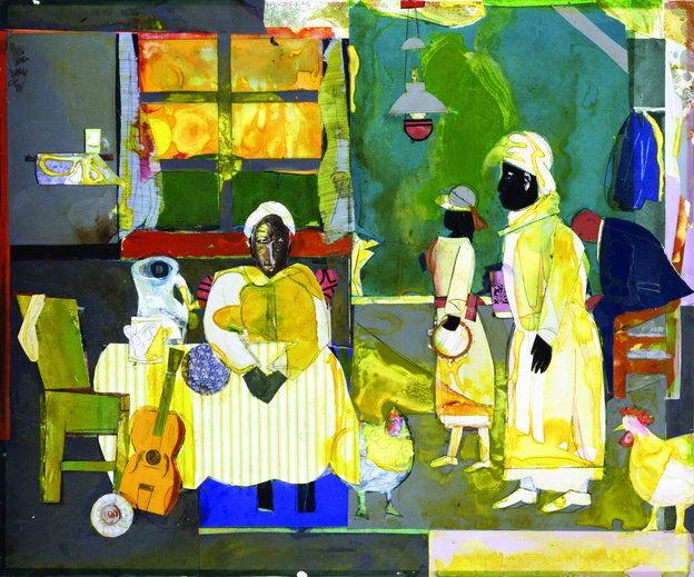 Gospel Morning, 1987. Mixed media collage (watercolor, paper, and fabric), 20 x 24 ¼ inches.