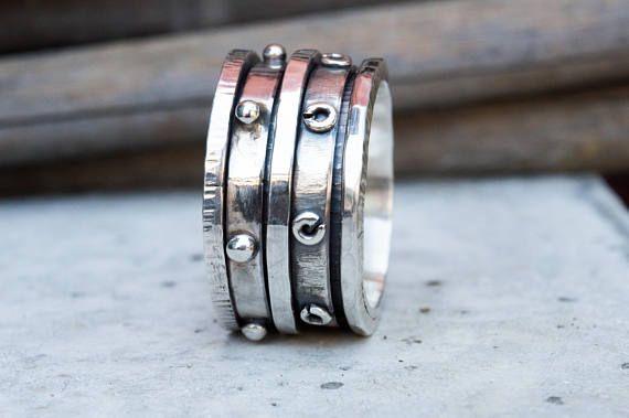 Mens ring Mens silver ring-Spinner ring mens-Mens