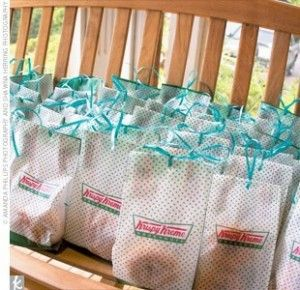The way I love Krispy Kreme original glazed donuts, these yummy wedding favors would never make it to the wedding party or guests.