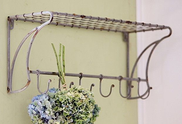 Distressed Wire Wall Shelf With Six Hooks - From Antiquefarmhouse.com - http://www.antiquefarmhouse.com/current-sale-events/hydrangea2/distressed-wire-wall-shelf-with-six-hooks.html