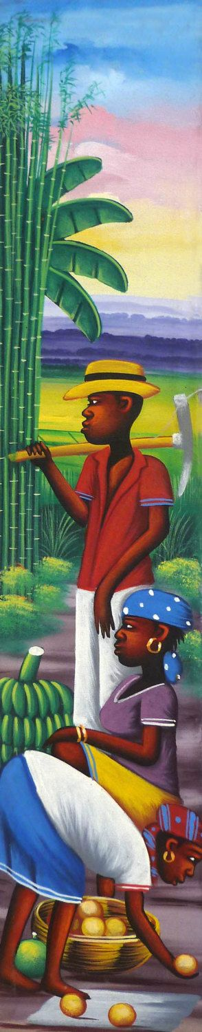 "Haitian Painting - Haitian Art - Original Painting - Canvas Art of Haiti - Caribbean Art, Canvas Painting - Sugarcane -  6"" x 30"" - 294 by TropicAccents on Etsy"