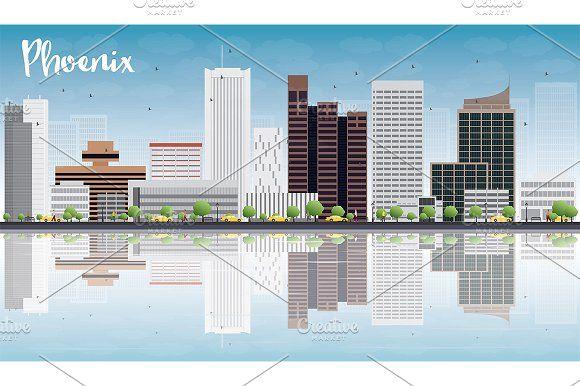 #Phoenix #Skyline with #Gray #Buildings by Igor Sorokin on @creativemarket