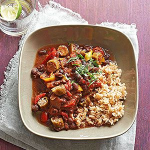 Cajun-Seasoned Vegetarian Gumbo Spunky Cajun seasoning, velvety black beans, and colorful vegetables keep this Cajun-Seasoned Vegetarian Gumbo lively, loaded, and interesting. There's plenty of saucy liquid to flavor accompanying rice.