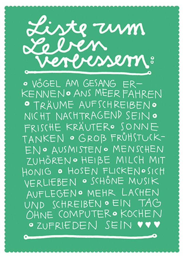 "Postkarte ""Liste zum Leben verbessern"" // postcard by LarifariLaden via DaWanda.com"