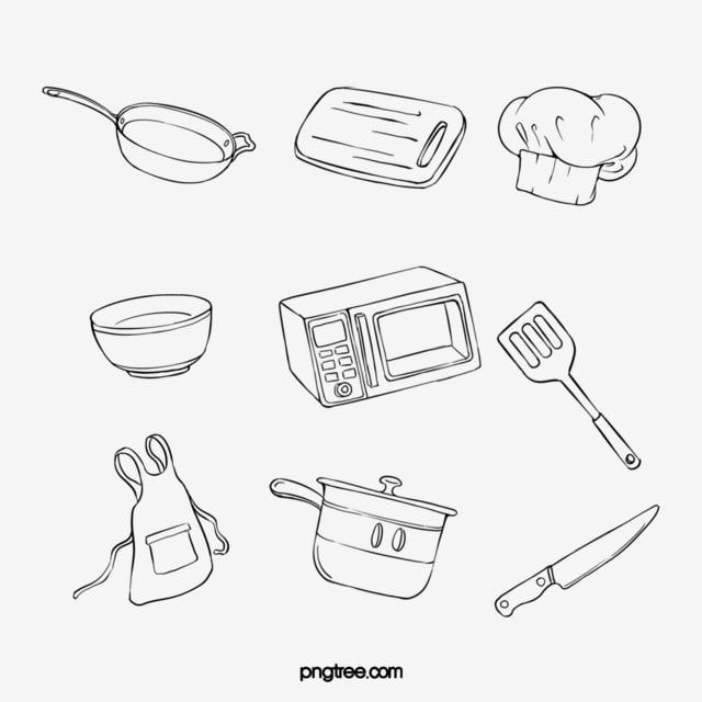 Hand Painted Minimalist Black Line Art Kitchen Utensils Combination Chef Hat Hand Painted Black Line Png Transparent Clipart Image And Psd File For Free Down In 2021 Kitchen Art Line Art