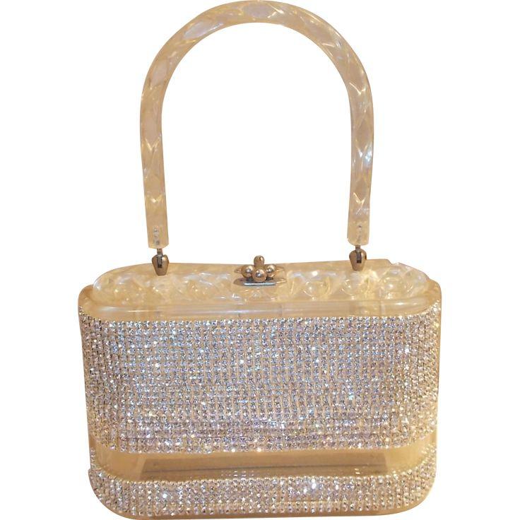 Beautiful vintage 1950's clear Lucite and rhinestone handbag