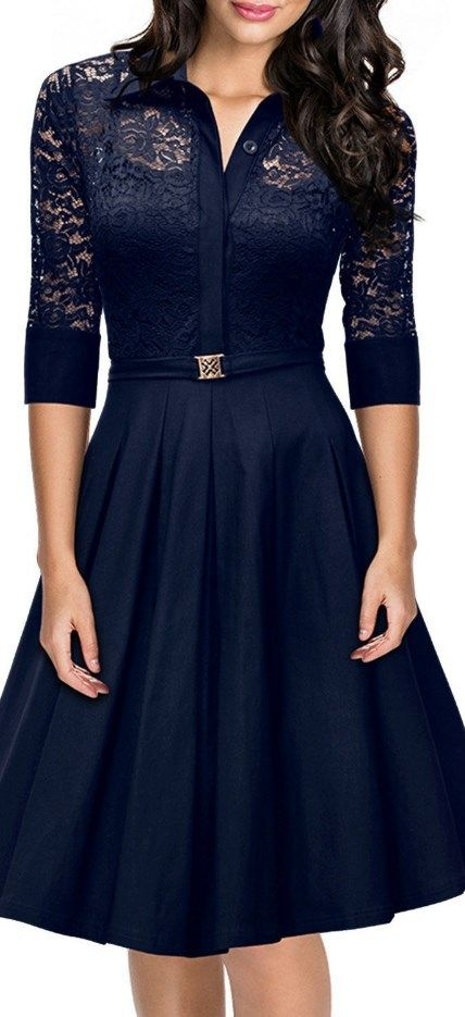 Wow! Gorgeous navy vintage dress!!! Vintage 1950s Style 3/4 Sleeve Black Lace Flare A-line Dress Deep Blue - Cute Dresses // More at http://www.cutedresses.co/product/vintage-1950s-style-34-sleeve-black-lace-flare-a-line-dress/