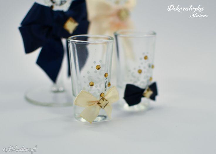 Ręcznie malowane kieliszki wódki sztuki wódka ślubne weselne kryształki komplet dwóch