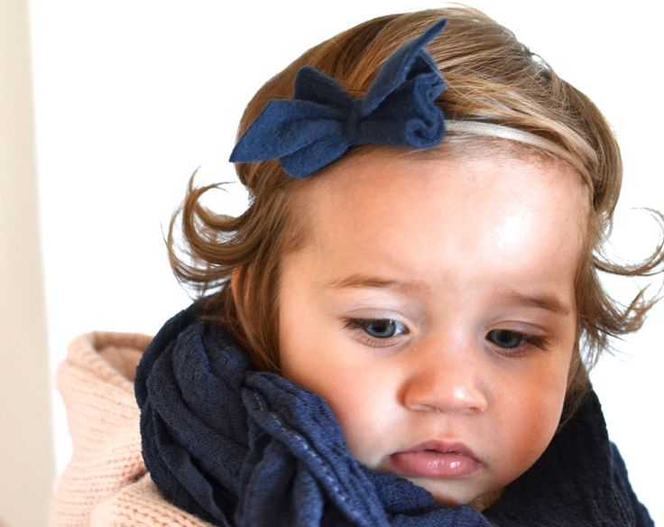 haarb nder stirnband baby winterschleife dunkelblau. Black Bedroom Furniture Sets. Home Design Ideas