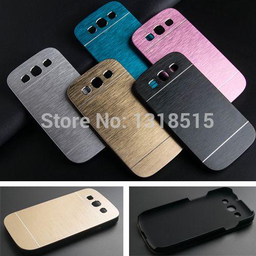 Luxo metal escovado alumínio + material da caixa pc para samsung galaxy s3 i9300 tampa da caixa de telefone