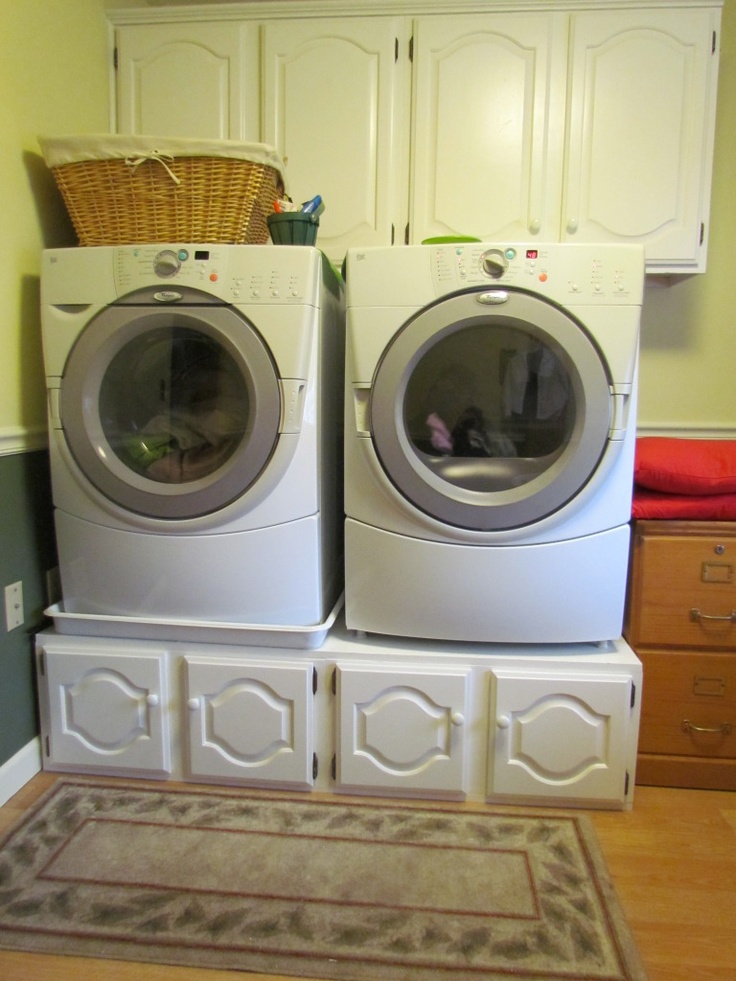Cabinets Pulled Out For A Kitchen Remodel~ Repurposed As Pedestals For  Front Loaders And Overhead · Washer And Dryer ...