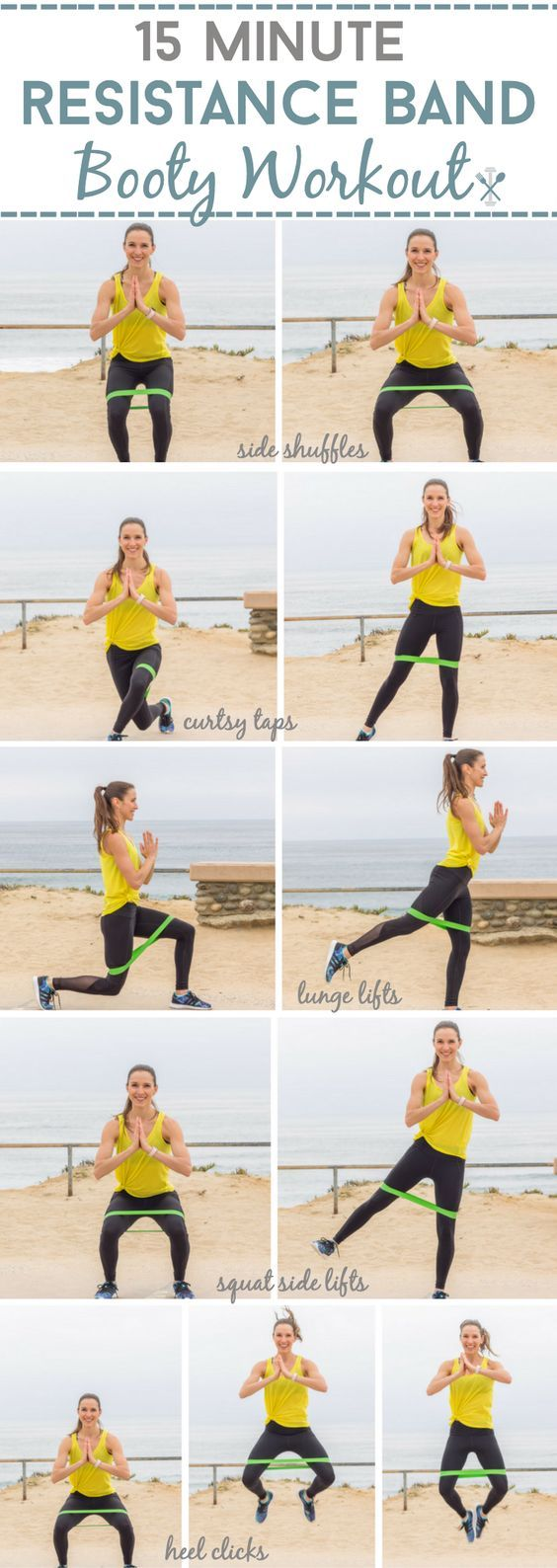 This target booty workout uses a resistance band for the ultimate backside shaper. Lift and tone your booty with this 15 minute, at home workout