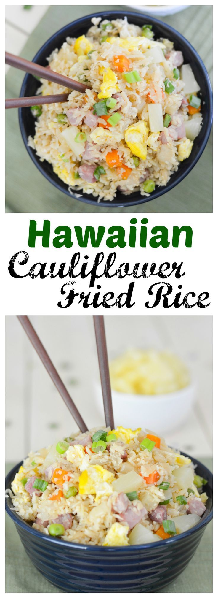 This Hawaiian Cauliflower Fried Rice is packed with so much flavor, including ham and pineapple– the Hawaiian classics!– that you won't even notice it's grain-free and full of veggies.