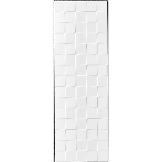 Carrelage mural décor Relief cube ARTENS en faïence, blanc mat, 25 x 75 cm