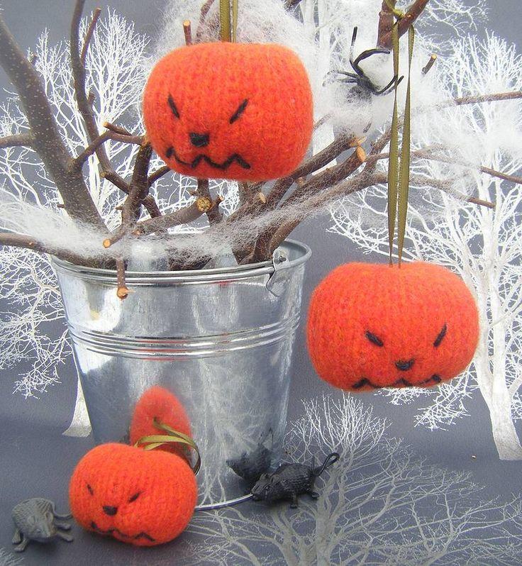 knittied pumpkin halloween decoration by my baboo | notonthehighstreet.com