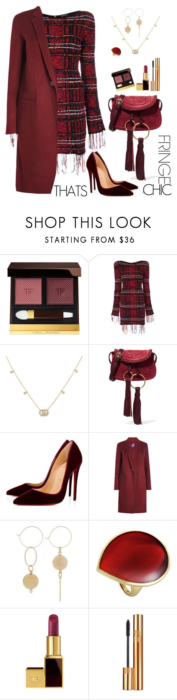 """Fringe Thats Chic"" by ellie366 ❤ liked on Polyvore featuring Tom Ford, Balmain, Gucci, See by Chloé, Christian Louboutin, Theory, Ippolita, Yves Saint Laurent, fringe and velvet"