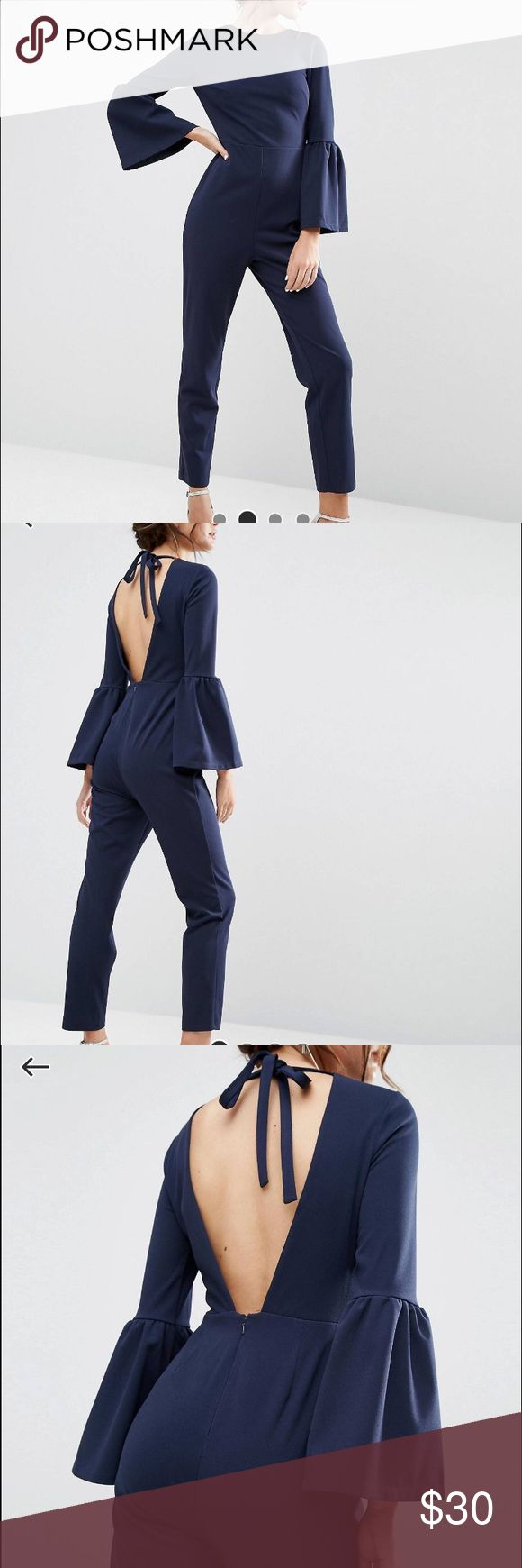 ASOS Jumpsuit w/ bell sleeves Navy blue jumpsuit with bell sleeves & a cut-out back. Worn once. ASOS Pants Jumpsuits & Rompers