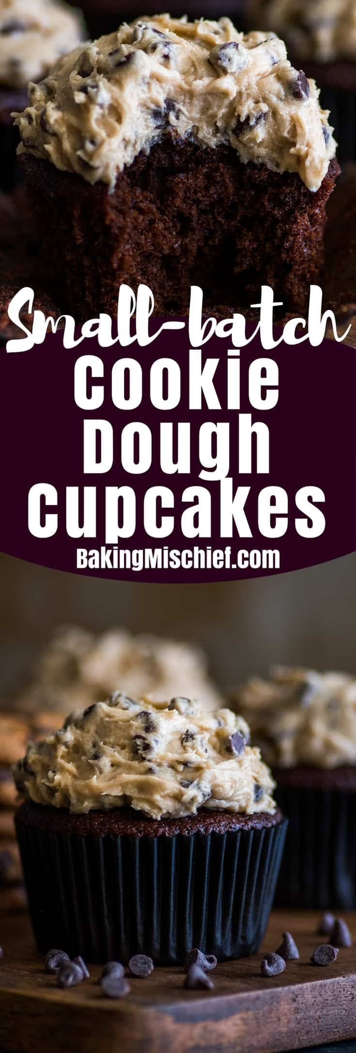 Small-batch Chocolate Cookie Dough Cupcakes are moist and decadent chocolate cupcakes smothered with a creamy, dreamy homemade cookie dough frosting. | #cookiedoughfrosting | #cupcakes | #smallbatchdessert |