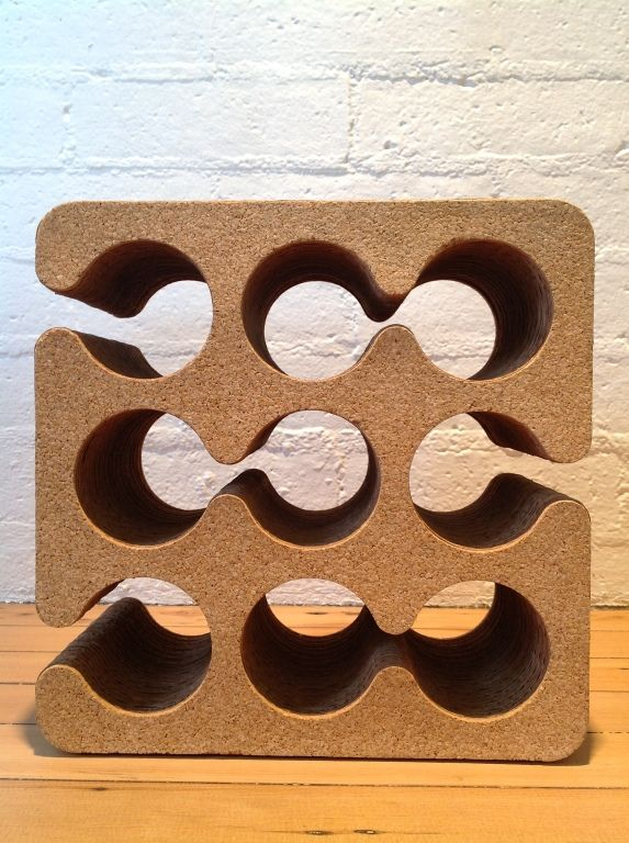 Frank Gehry  cork and corrugated cardboard wine rack | From a unique collection of antique and modern barware at https://www.1stdibs.com/furniture/dining-entertaining/barware/
