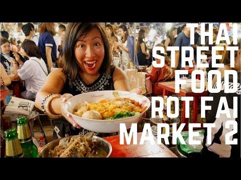 VIDEO! Top Thai street foods to eat at Rot Fai Night Market 2 in Bangkok, Thailand. Food and Travel Channel.