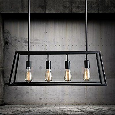 LLYY-Style loft fer table lampe verre boîtes lumineuse salle à manger salon créatif de lustre rectangulaire s'allume café personnalité 780 * 290mm , B