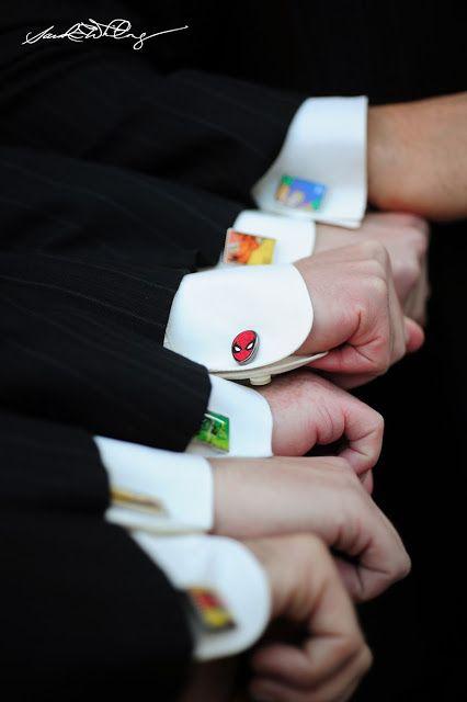 Superhero cuff links for groomsmen
