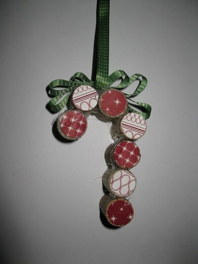 Wine Cork Candy Cane Ornament-Stampin'Up Style