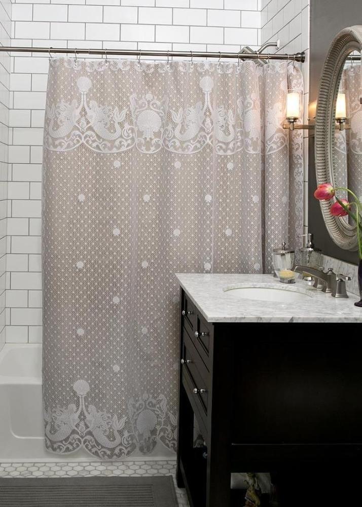 Mermaid Lace Shower Curtain NO LINER Undersea Bathroom Theme