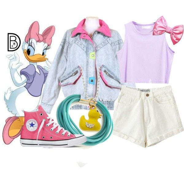1980's: Daisy Duck by leslieakay on Polyvore featuring Converse, Charming Life, disney, disneybound and disneycharacter