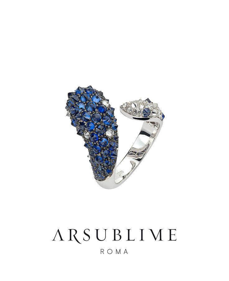 #arsublime #ring #sapphires #diamonds #upsidedown #madeinitaly #blue #inverno #collection #finejewellery #artisanal #luxury #rome #stile #italiano #style #fashion #elegance #roma