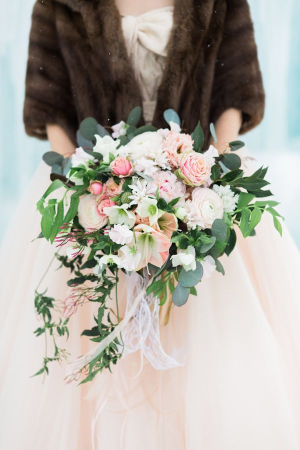 pastel winter bouquet - photo by Rodeo and Co Photography http://ruffledblog.com/ice-castle-wedding-inspiration