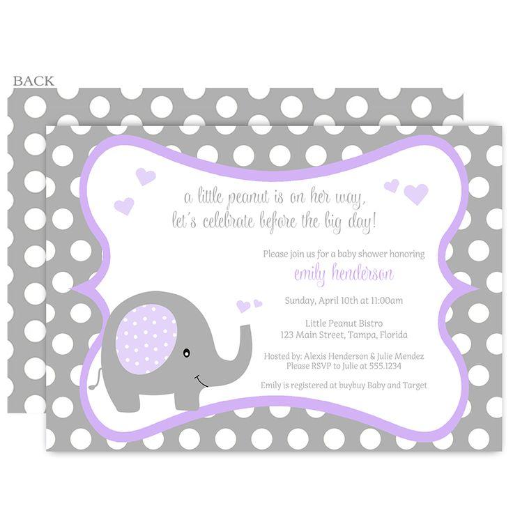 polka dot elephant purple baby shower invitation